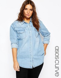 Голубая джинсовая рубашка бойфренда ASOS CURVE - Синий