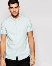 Выбеленная джинсовая рубашка с коротким рукавом ASOS - Выбеленный
