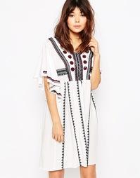 Платье-туника в стиле фолк с рукавами‑кимоно и вышивкой Brave Soul