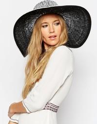 Большая соломенная шляпа с эффектом омбре ASOS - Черно-белый