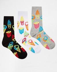 Комплект из 3 пар носков с неоновым принтом на тему фастфуда ASOS