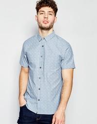 Рубашка в мелкую звездочку с короткими рукавами Brave Soul - Синий