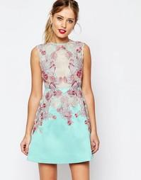 Короткое платье-трапеция с отделкой из кружева ASOS SALON - Мятный