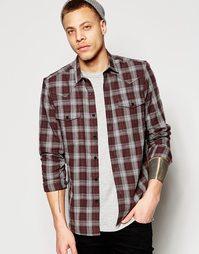 Клетчатая рубашка в стиле вестерн с длинными рукавами ASOS - Серый