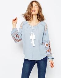 Блузка из шамбре с вышивкой в стиле фолк ASOS Ultimate - Синий