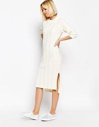 Трикотажное платье в рубчик ADPT - Кремовый