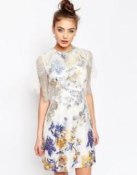 Трапециевидное платье с жаккардовой и кружевной отделкой ASOS - Мульти