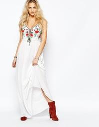 Платье макси с вышивкой в стиле фолк Boohoo Boutique - Белый