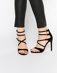 Сандалии на каблуке с ремешками Boohoo - Черный замшевый
