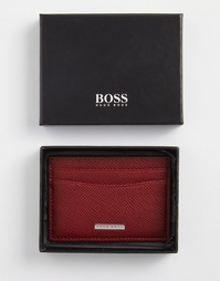 Кожаная кредитница Hugo Boss Saffiano - Красный