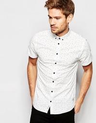 Белая рубашка на пуговицах зауженного кроя с короткими рукавами Blend