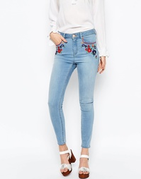 Облегающие укороченные джинсы с вышивкой ASOS RIDLEY - Голубой