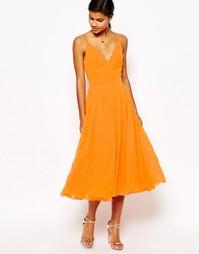 Плиссированное платье миди на тонких бретельках ASOS - Оранжевый
