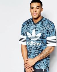 Синяя трикотажная футболка с принтом adidas Originals AZ3265 - Синий