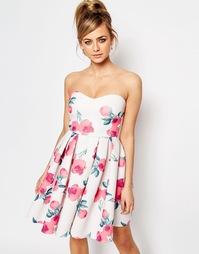 Платье бандо для выпускного Oh My Love - Розовый с цветочным принтом