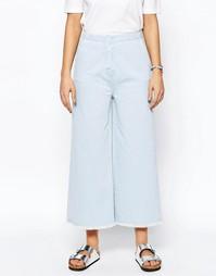 Голубые джинсы с суперширокими штанинами и необработанной кромкой ASOS