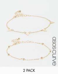 2 браслета-цепочки ASOS CURVE - Золотой