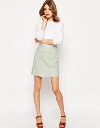 Льняная юбка-трапеция с карманом ASOS - Мятный