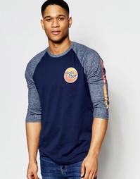Бейсбольная футболка с длинным рукавом принтом Hollister - Темно-синий