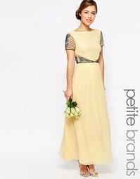 Платье макси с короткими рукавами и отделкой на талии Maya Petite