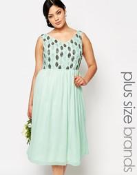 Платье миди для выпускного с отделкой на лифе Lovedrobe - Зеленый