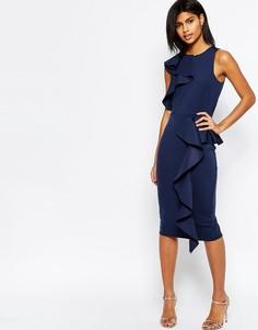 Платье миди с оборкой у горловины и баской ASOS - Темно-синий