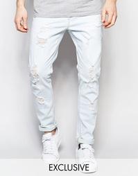 Стираные джинсы слим с потертостями Liquor & Poker