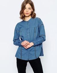 Синяя джинсовая рубашка с отделкой лесенка ASOS - Темно-синий с розами