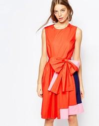 Платье колор блок с завязкой на талии Sportmax Code - 007 красный