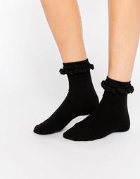 Носки с помпонами Monki - Черный