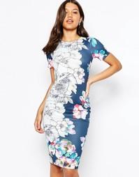 Облегающее платье миди с цветочным принтом ASOS - Темно-синий