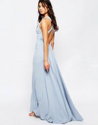Платье макси с высокой горловиной и шлейфом Jarlo Sasha - Синий