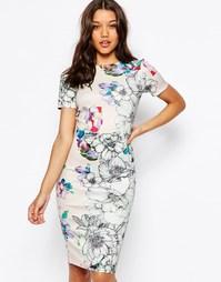 Облегающее платье миди с цветочным принтом ASOS - Телесный