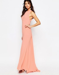 Платье макси с высокой горловиной и шлейфом Jarlo Sasha - Coral pink