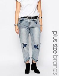 Свободные джинсы бойфренда с вышивкой Alice & You - Синий