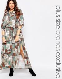 Платье макси с запахом и рукавами‑кимоно Alice & You - Мульти
