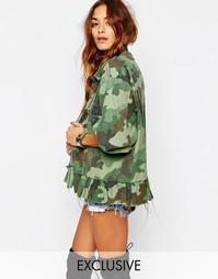 Камуфляжная рубашка в стиле милитари с баской Milk It - Зеленый