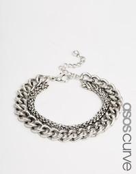 Массивный браслет‑цепочка ASOS CURVE - Шлифованный серебряный