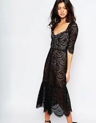 Черное кужевное платье миди For Love and Lemons Rosalita - Черный