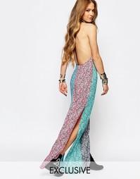 Платье макси с цветочным принтом и лямками сзади Reclaimed Vintage