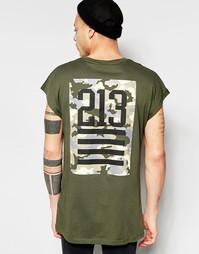 Черная оversize-футболка без рукавов с камуфляжным принтом-номером на Asos