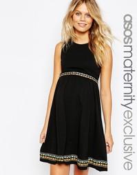 Приталенное платье для беременных с вышивкой ASOS Maternity - Черный