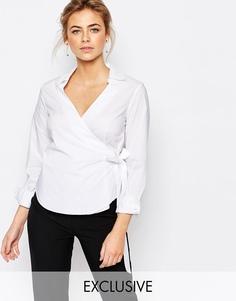 Хлопковая рубашка с запахом спереди Closet - Белый