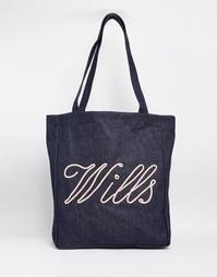 Хлопковая сумка-шоппер Jack Wills - Индиго с веревочной отделкой