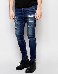 Рваные джинсы с заниженным шаговым швом SikSilk - Washed dark blue