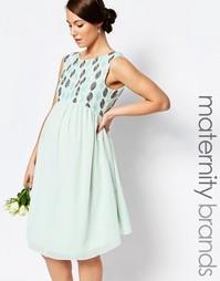 Декорированное платье для беременных Maya Maternity - Зеленый