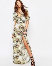 Платье макси с рукавами‑оборками и цветочным принтом Young Bohemians