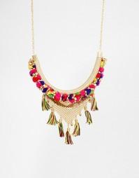 Ожерелье с кисточкой и помпонами Glamorous - Золотой