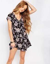 Чайное платье с цветочным принтом Billabong - Черный цветочный