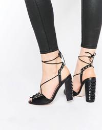 Сандалии на каблуке со шнуровкой ASOS HEADSPIN - Черный